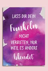 """Postkarte """"Lass Dir Dein Funkeln nicht verbieten"""" Sprüchekarte Postkarte Spruch Motivationskarte Geurtstagskarte"""
