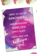 """Postkarte Kollegen Abschied """"Banküberfall"""" Kollegen Geschenk Postkarte Sprüche Ruhestand Karte"""