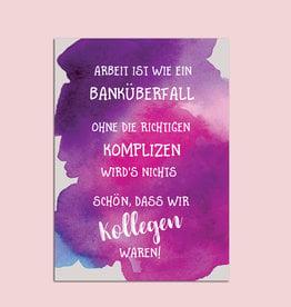 """Postkarte Kollegen Abschied """"Banküberfall"""""""
