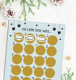 Adventskalender zum Rubbeln ICH LIEBE DICH Adventskalender A3 Weihnachtskalender