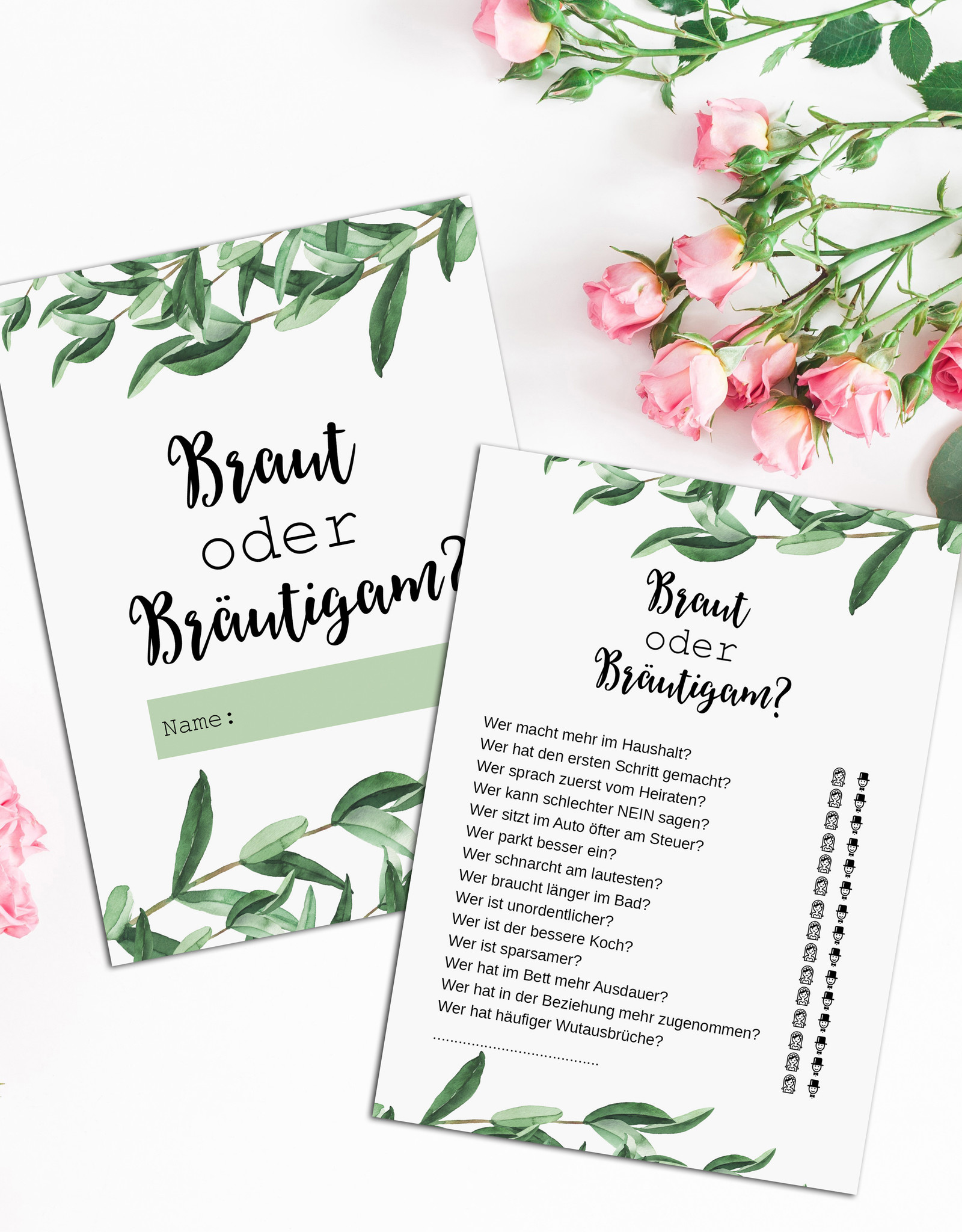50 Karten Hochzeitsspiel Braut oder Bräutigam? EUCALYPTUS, Hochzeitsspiele Gäste Gastgeschenk Hochzeit