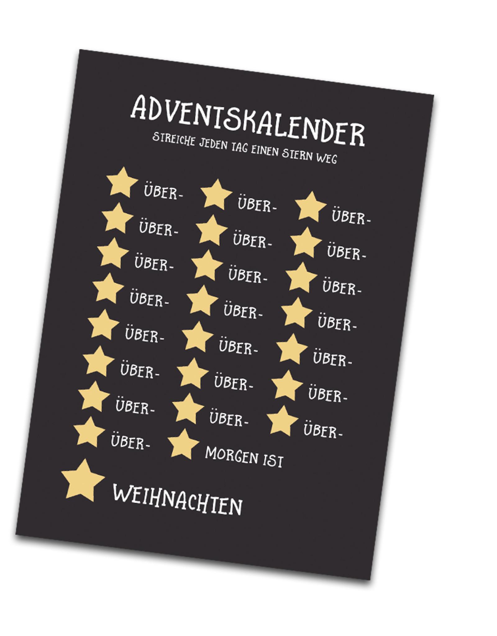 Adventskalender Postkarten 4er Set Adventskalender für Erwachsene