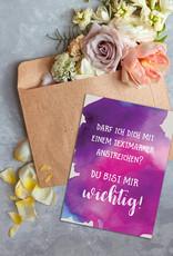 """Postkarte """"Du bist mir wichtig"""" Textmarker, Postkarte Liebe, Postkarten Sprüche,"""