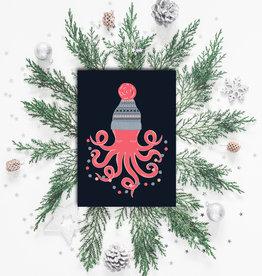 """Weihnachtskarte """"Kraken"""", Postkarte Weihnachten"""