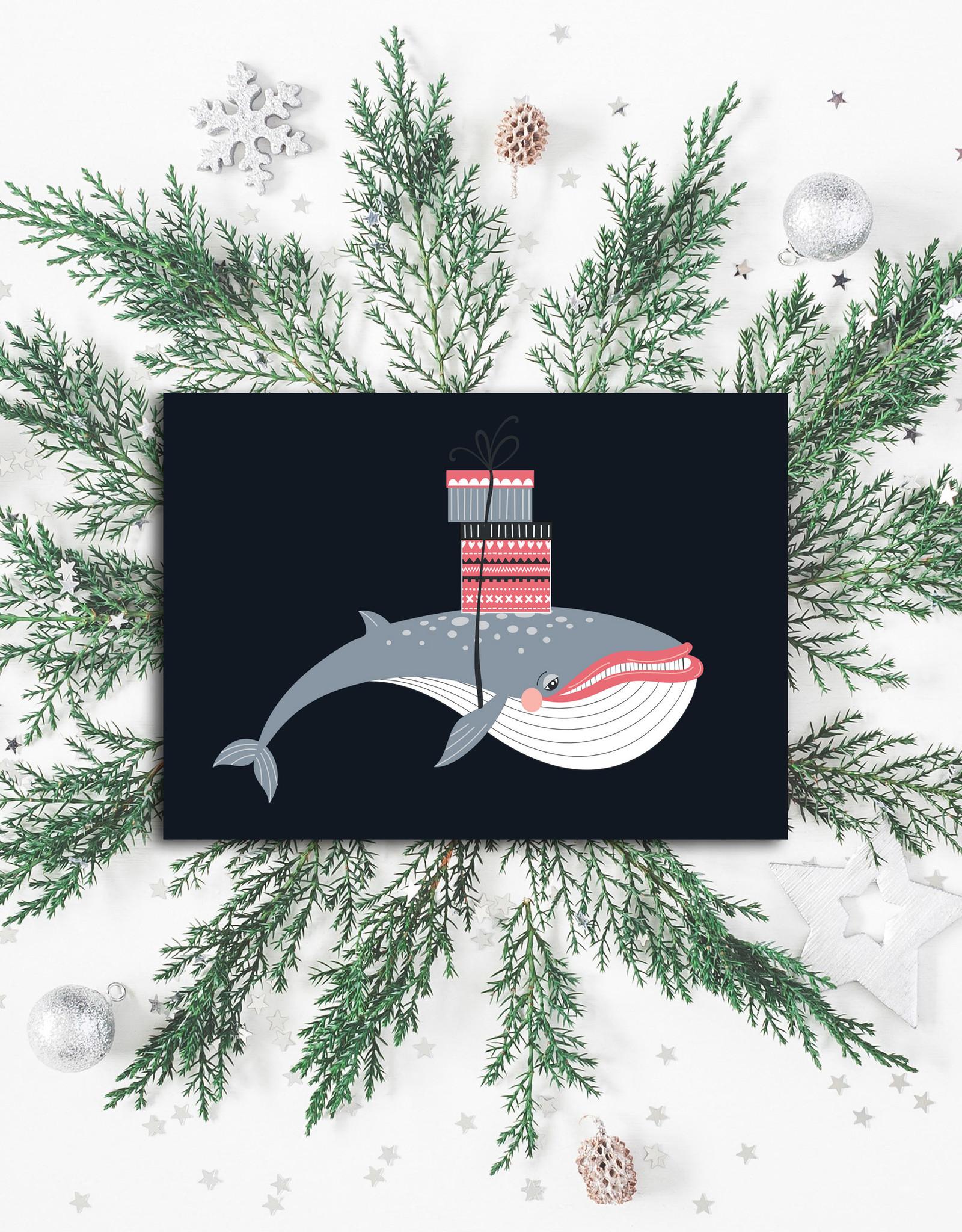 """Weihnachtskarte """"Wal"""", Postkarte Weihnachten"""