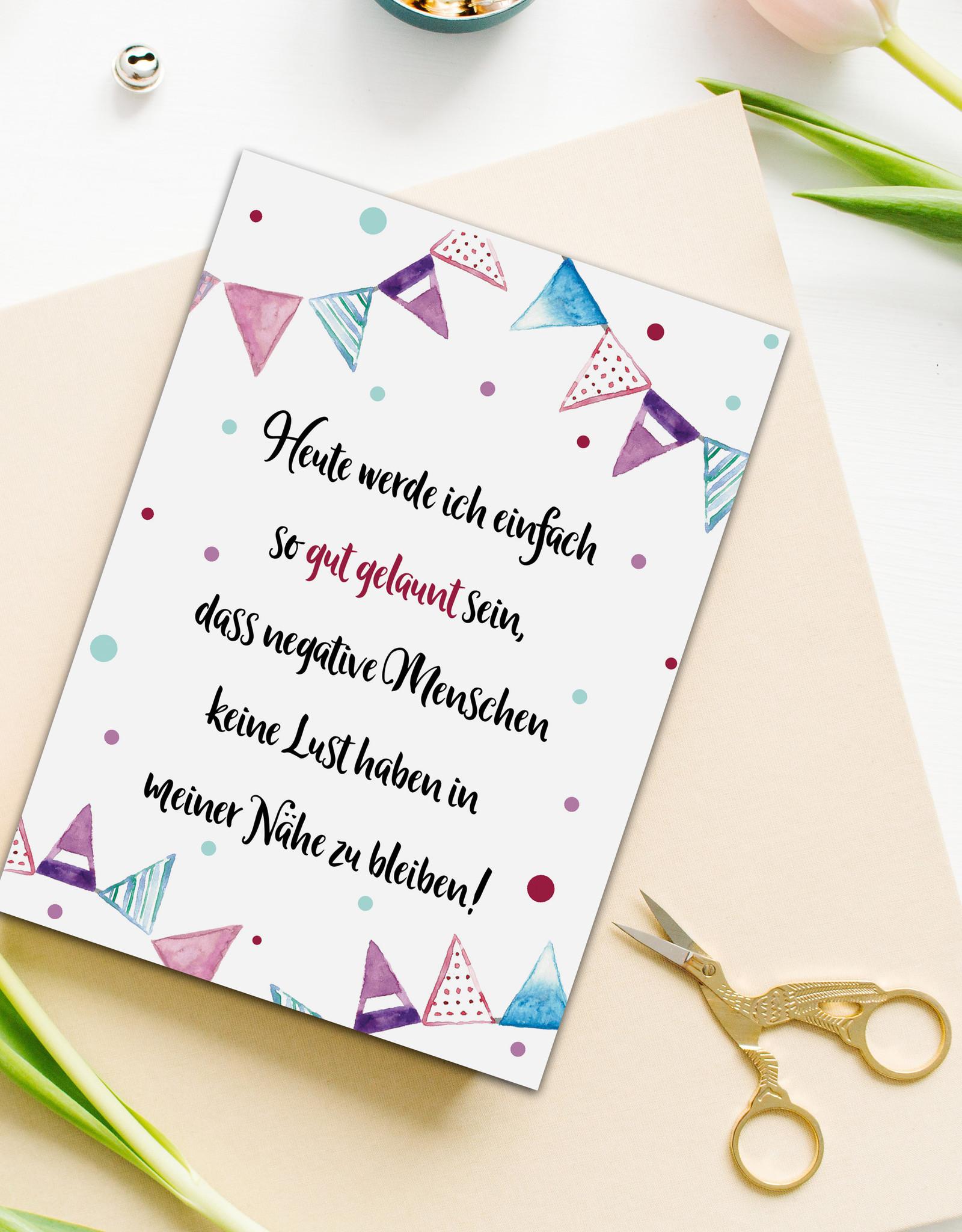 """Postkarte Spruch """"Heute werde ich gut gelaunt sein"""", Postkarte Sprüche Postkarten Motivation, Sprüche Karte, Motivationskarte"""