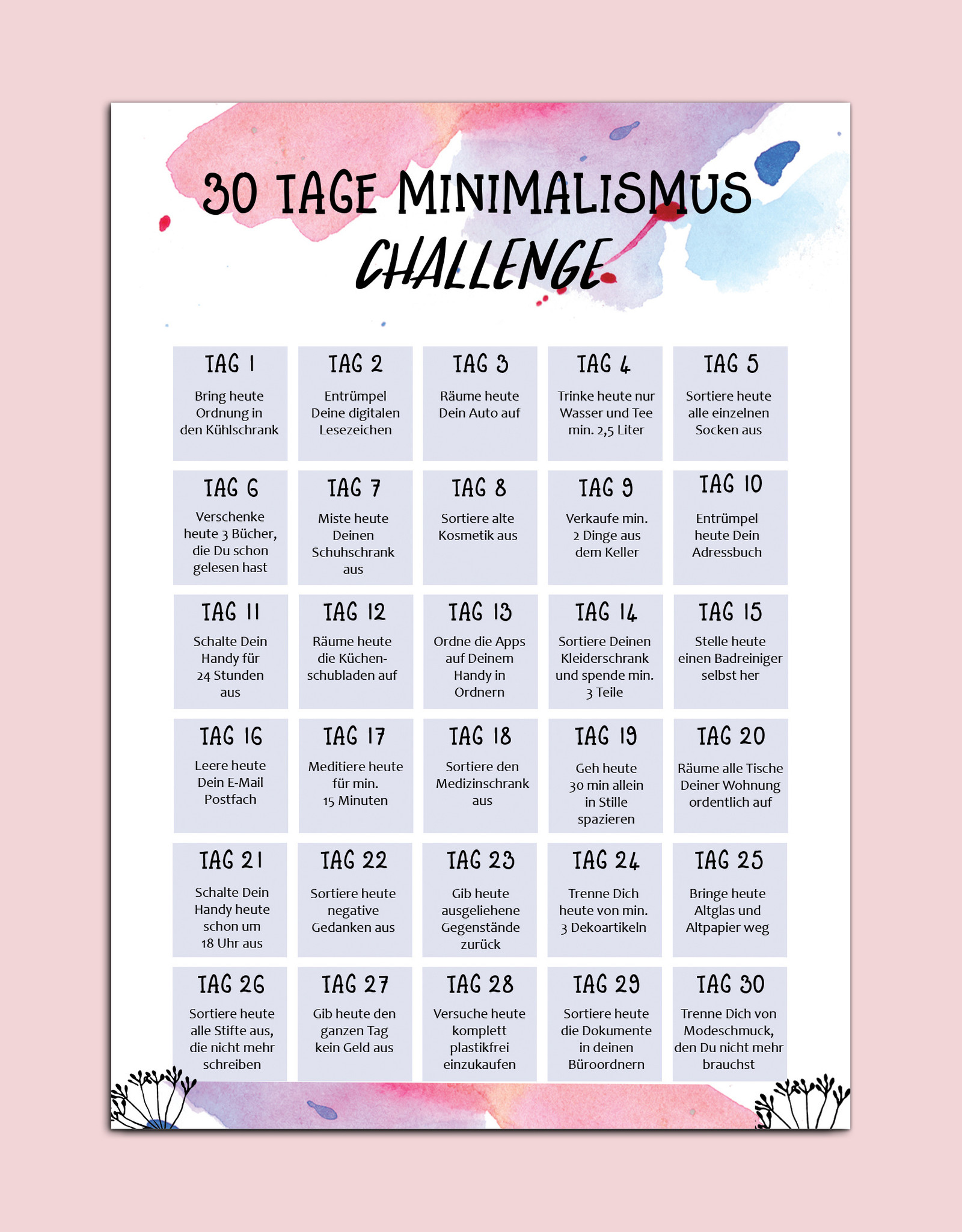 Postkarte Minimalismus Challenge 30 Tage Motivationskarte Neujahr