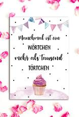 """Postkarte Geburtstag """"Törtchen"""" Geburtstagskarte, Geburtstags Postkarte, Geburtstag Mama, Geburtstag Freundin"""