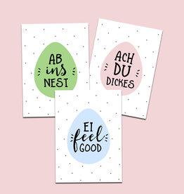 Osterkarten 3er Set Sprüche Karten Ostern