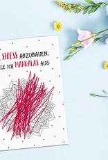 Postkarte Anti Stress MANDALAS Motivationskarte lustig Sprüche Postkarte lustig