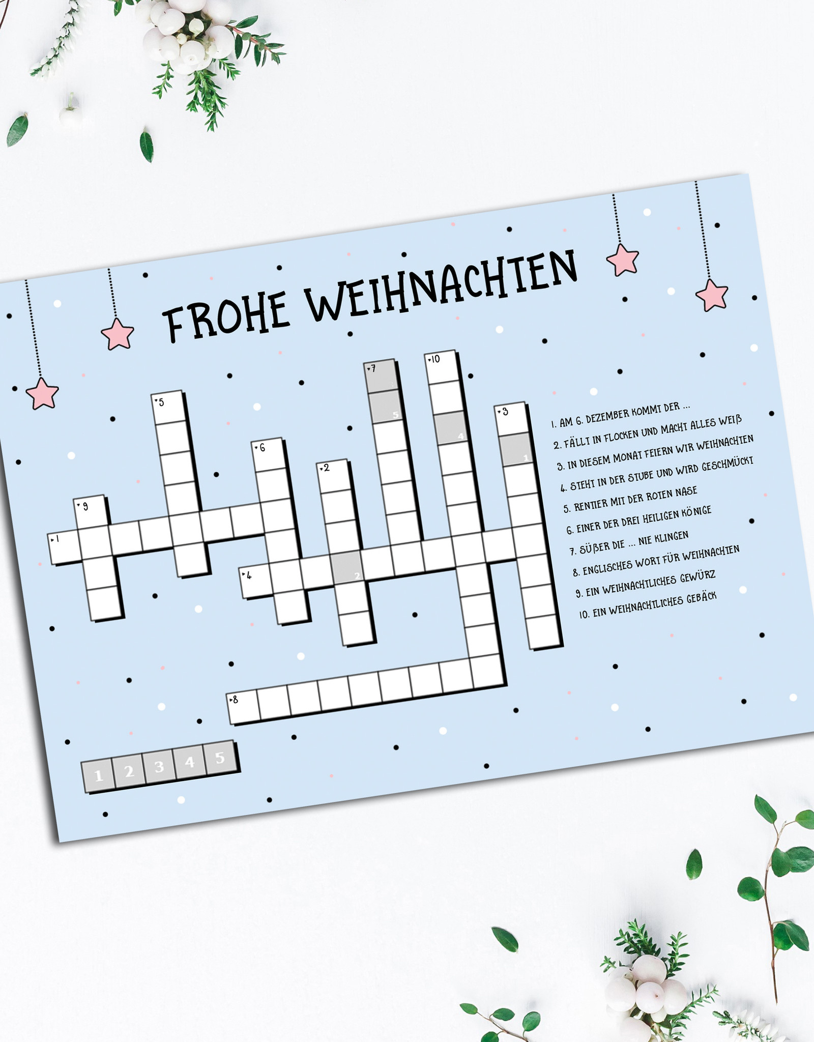 Weihnachtskarte KREUZWORTRÄTSEL Postkarte Weihnachten Grußkarte Weihnachtskarten lustig