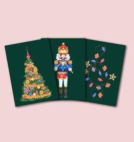Weihnachtskarten vintage Set 3-teilig NUSSKNACKER