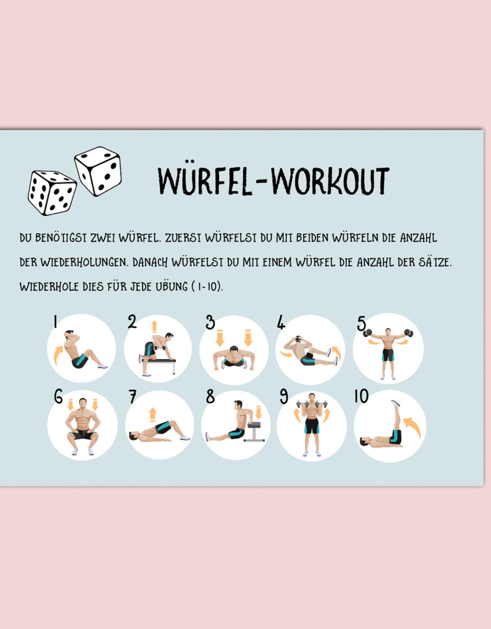 "Postkarte Fitness ""Würfel-Workout"", Postkarten Motivation, Sport, Challenge Fitness Neujahr Postkarte"