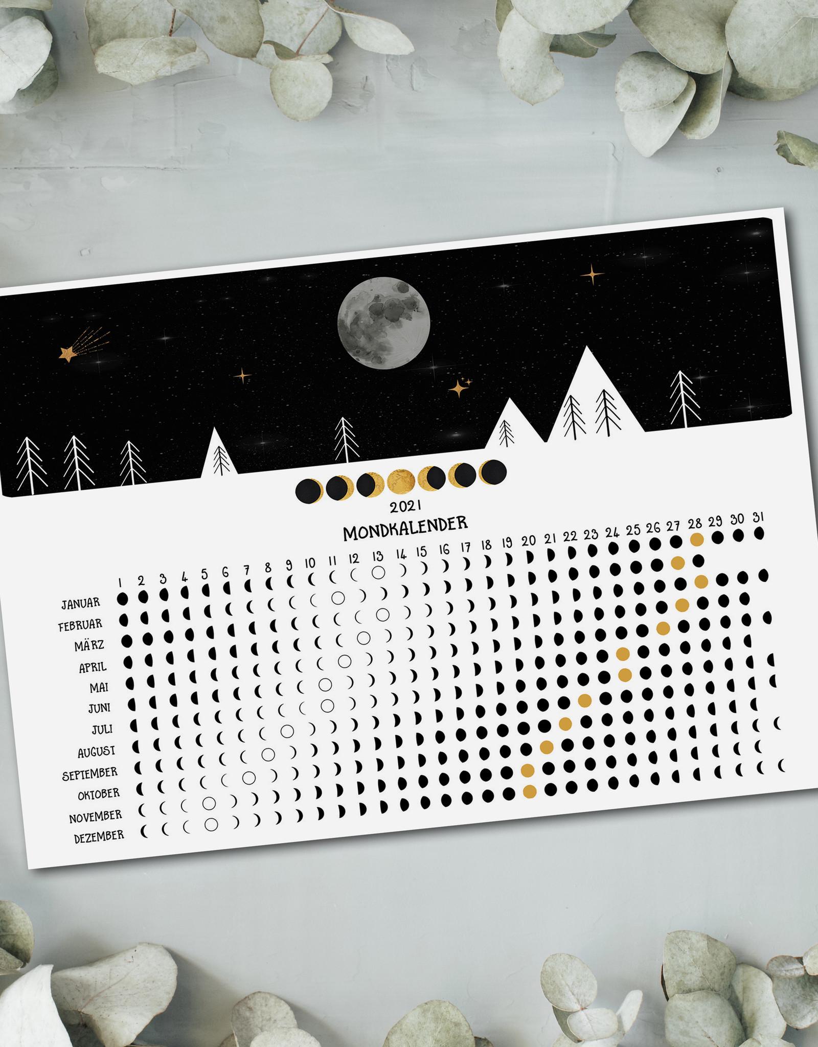 Mondkalender 2021 Poster Mondkalender DIN A4 Kalender 2021