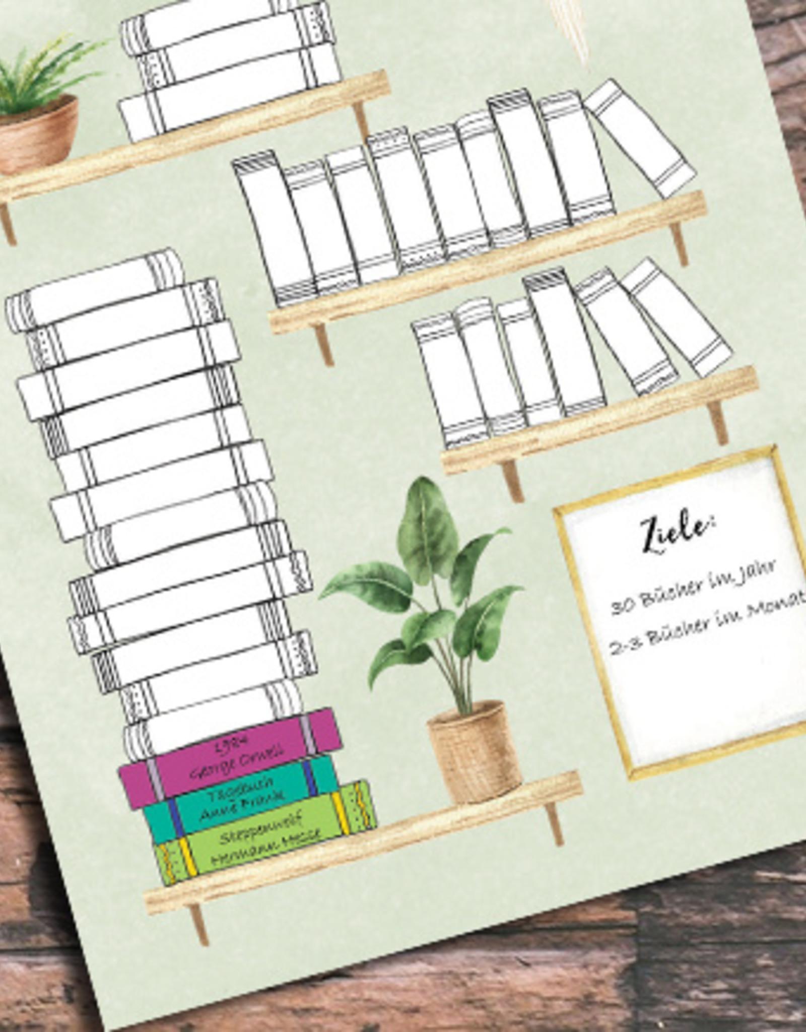 Postkarte BÜCHER Bullet Journal Postkarte Bücherliste Checkliste Bücher lesen Leseliste