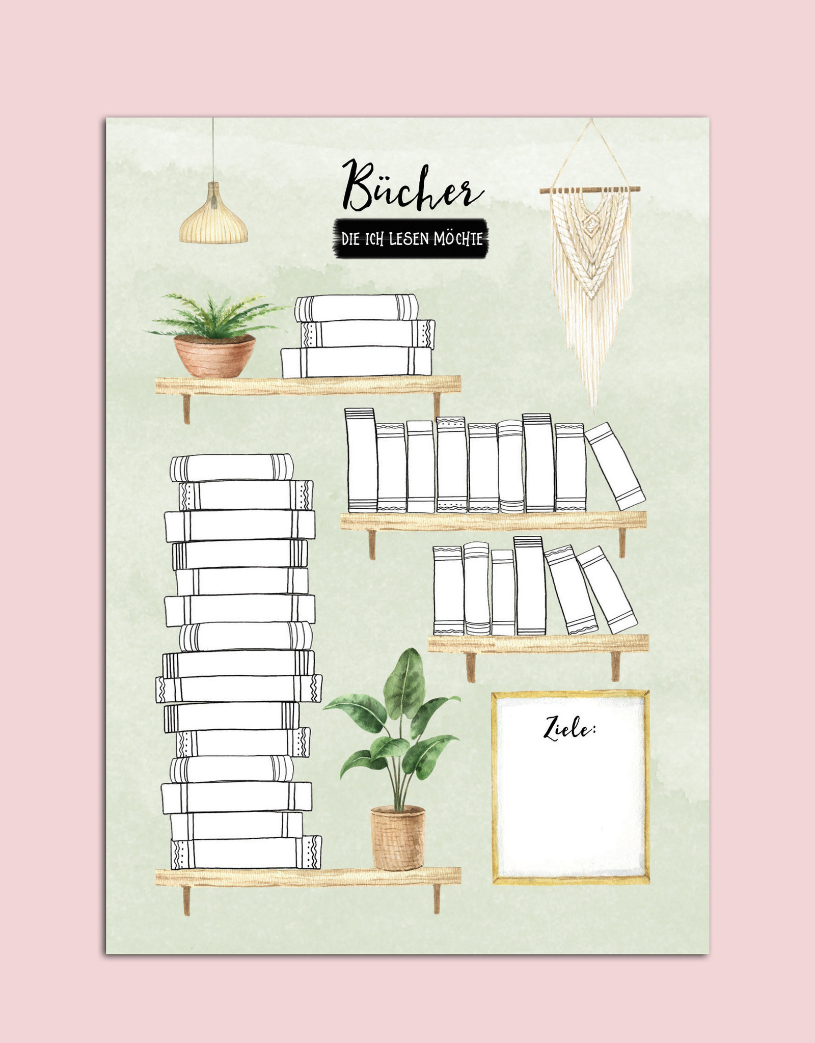 Poster DIN A4 BÜCHER Bullet Journal Bücherliste Checkliste Bücher lesen Leseliste