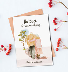 """Glückwunschkarte Hochzeit """"Spaziergang"""" Karte Hochzeit"""