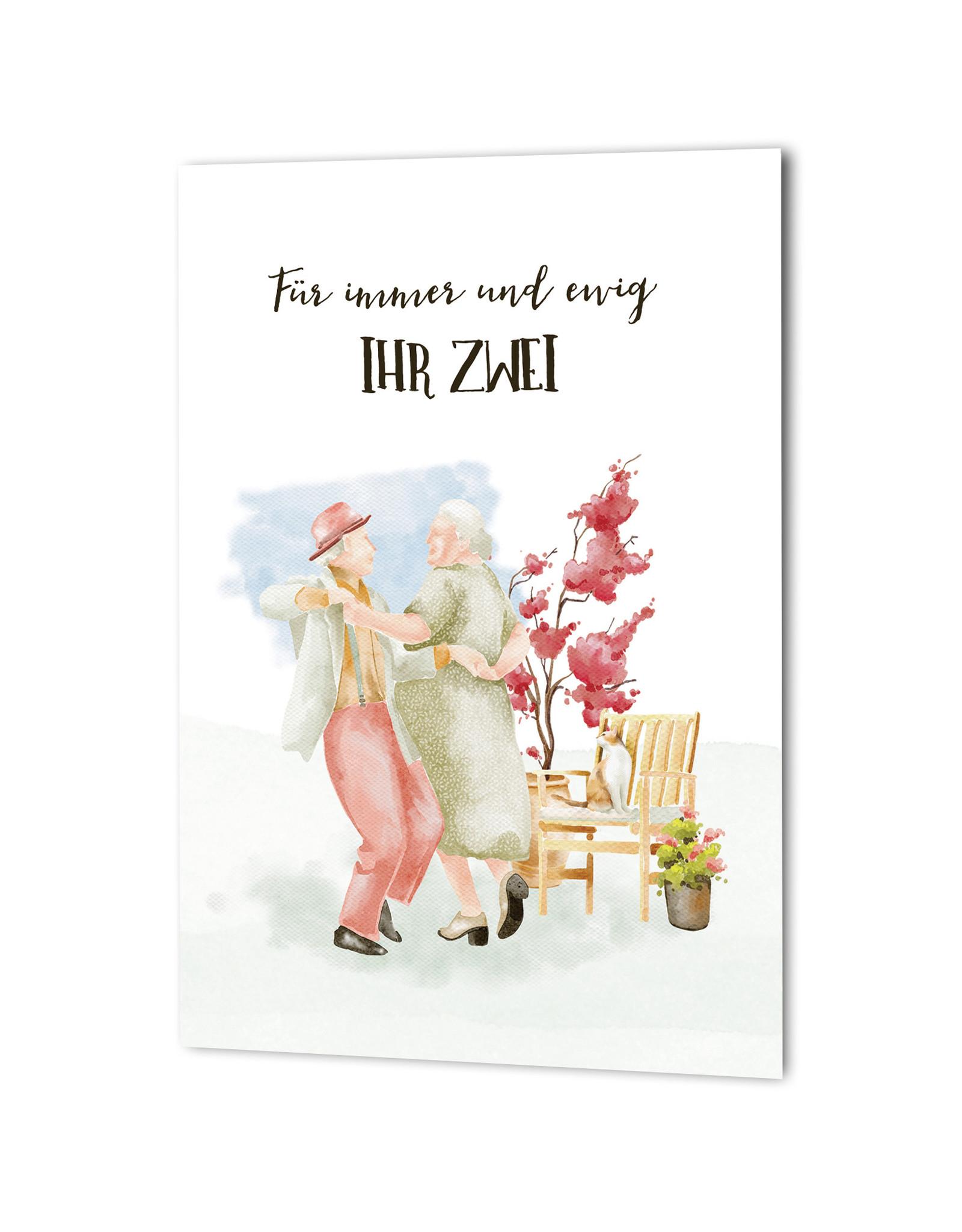 """Glückwunschkarte Hochzeit """"tanzendes Ehepaar"""" Karte Hochzeit Grußkarte Hochzeit Geschenk Goldene Hochzeit Silberhochzeit"""