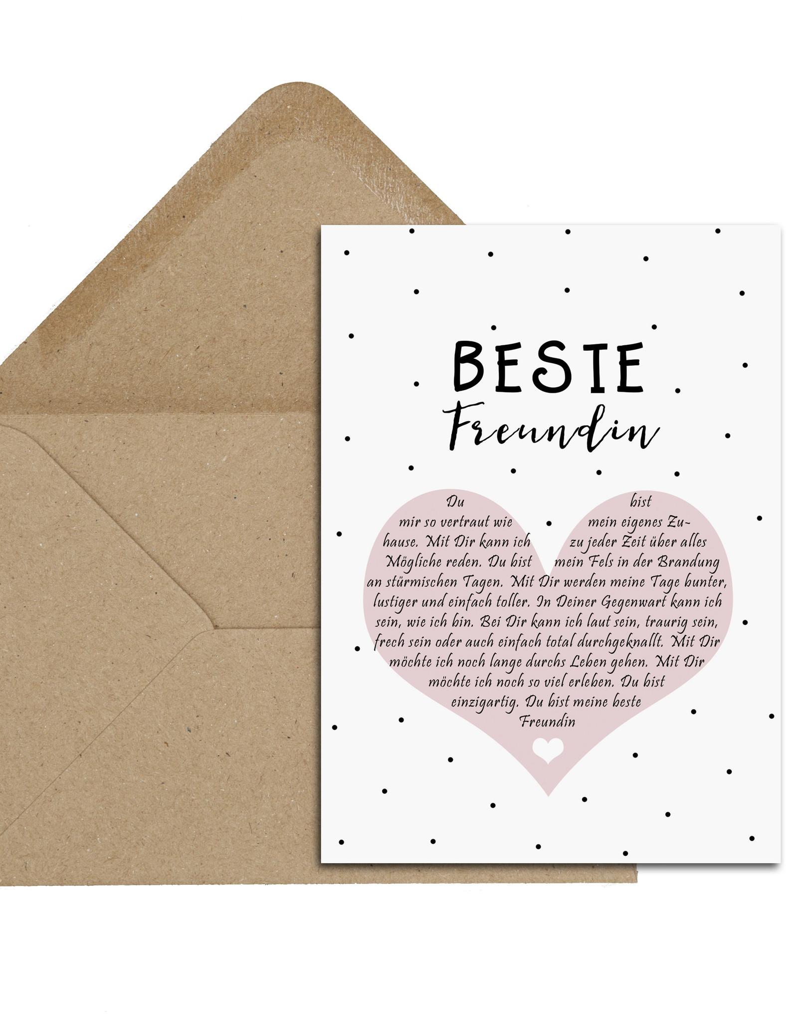 Postkarte BESTE FREUNDIN Herzbotschaft inkl. Briefumschlag Beste Freundin Geschenk