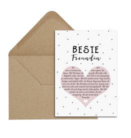 Postkarte BESTE FREUNDIN Herzbotschaft inkl. Briefumschlag