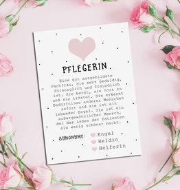 Postkarte PFLEGERIN inkl. Briefumschlag