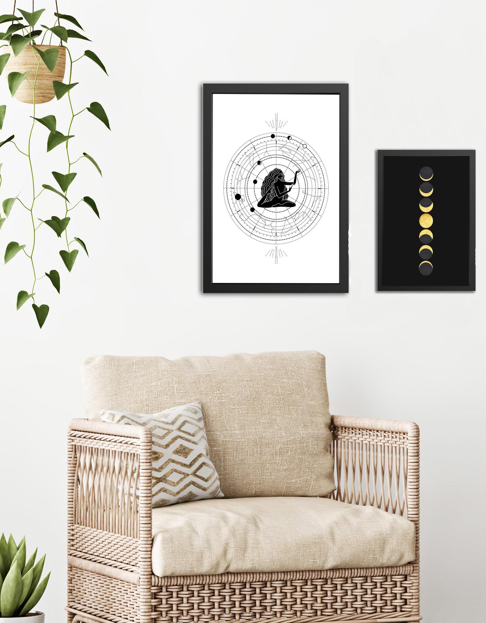 Poster Set Mondphasen Astrologie Sternzeichen DIN A4 + DIN A3 Astrologie Poster Set