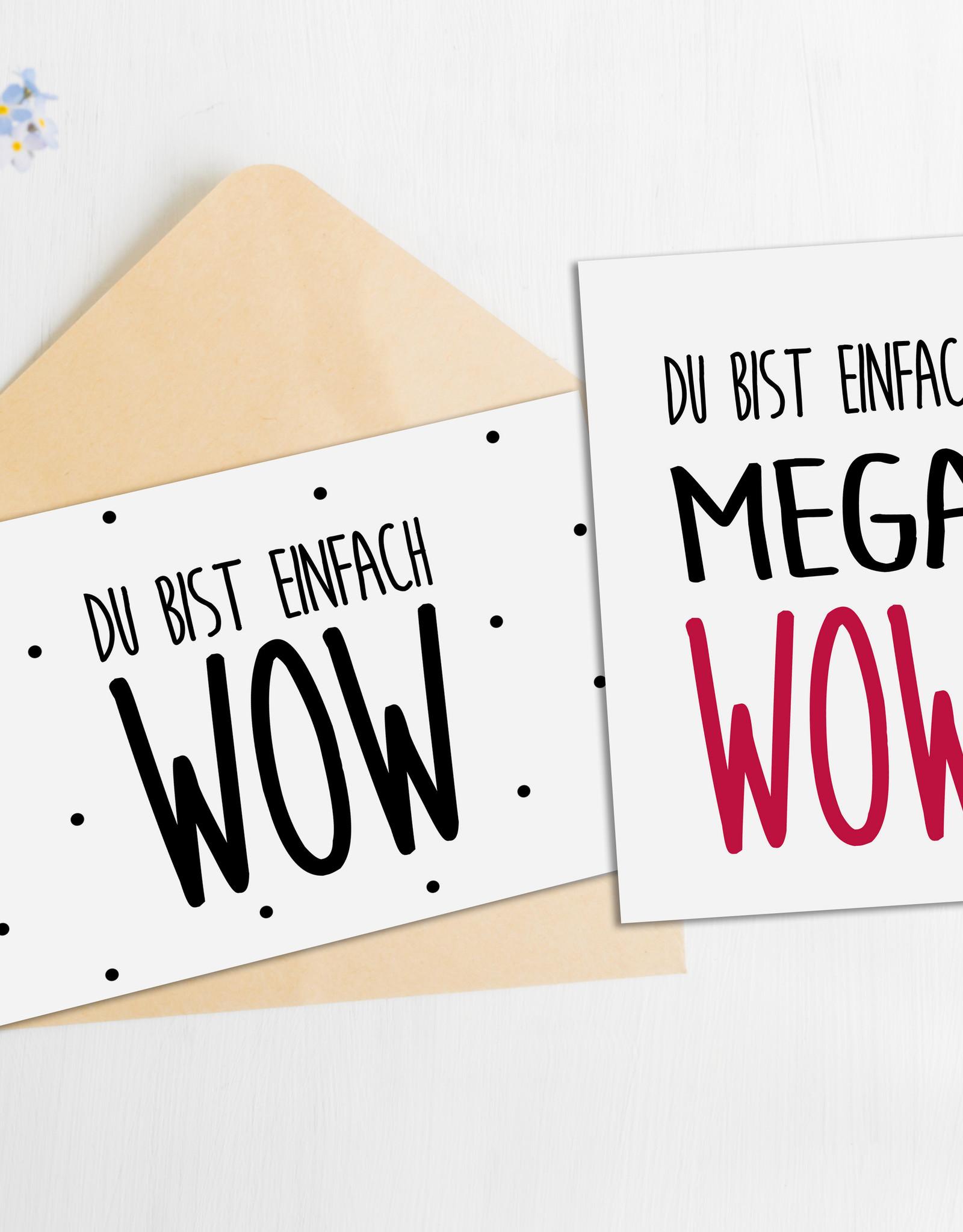 Postkarten Set Du bist WOW und MEGA WOW 2er Set Postkarten Sprüche