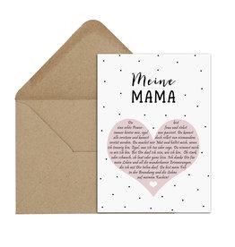 Postkarte MEINE MAMA Herzbotschaft inkl. Briefumschlag