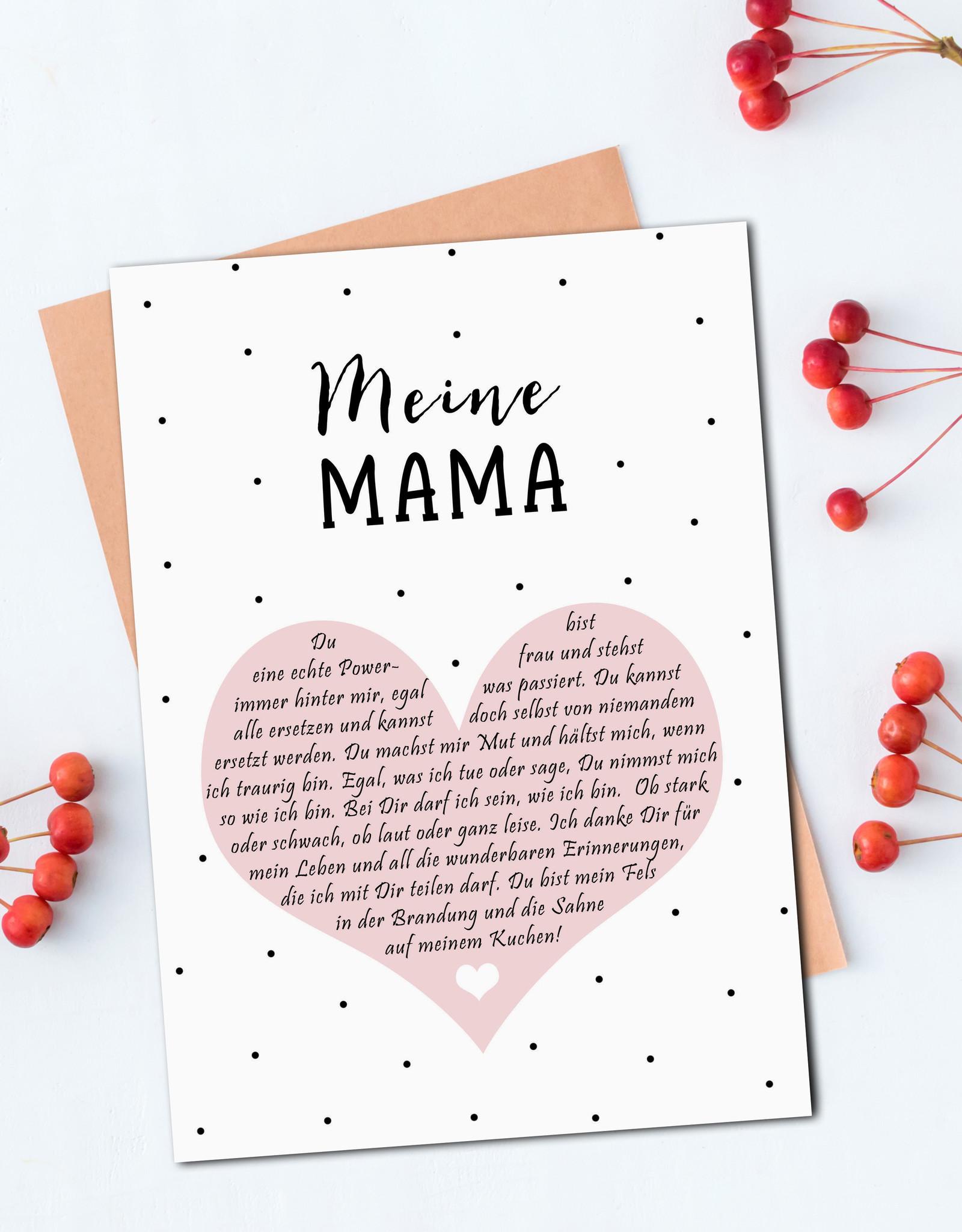 Postkarte MEINE MAMA Herzbotschaft inkl. Briefumschlag Muttertag Geschenk