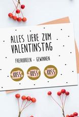 Postkarte Valentinstag FREIRUBBELN + GEWINNEN inkl. Briefumschlag Rubbelkarte Valentinstag