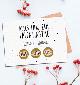 Postkarte Valentinstag FREIRUBBELN + GEWINNEN