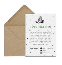 Postkarte FÜHRERSCHEIN inkl. Briefumschlag