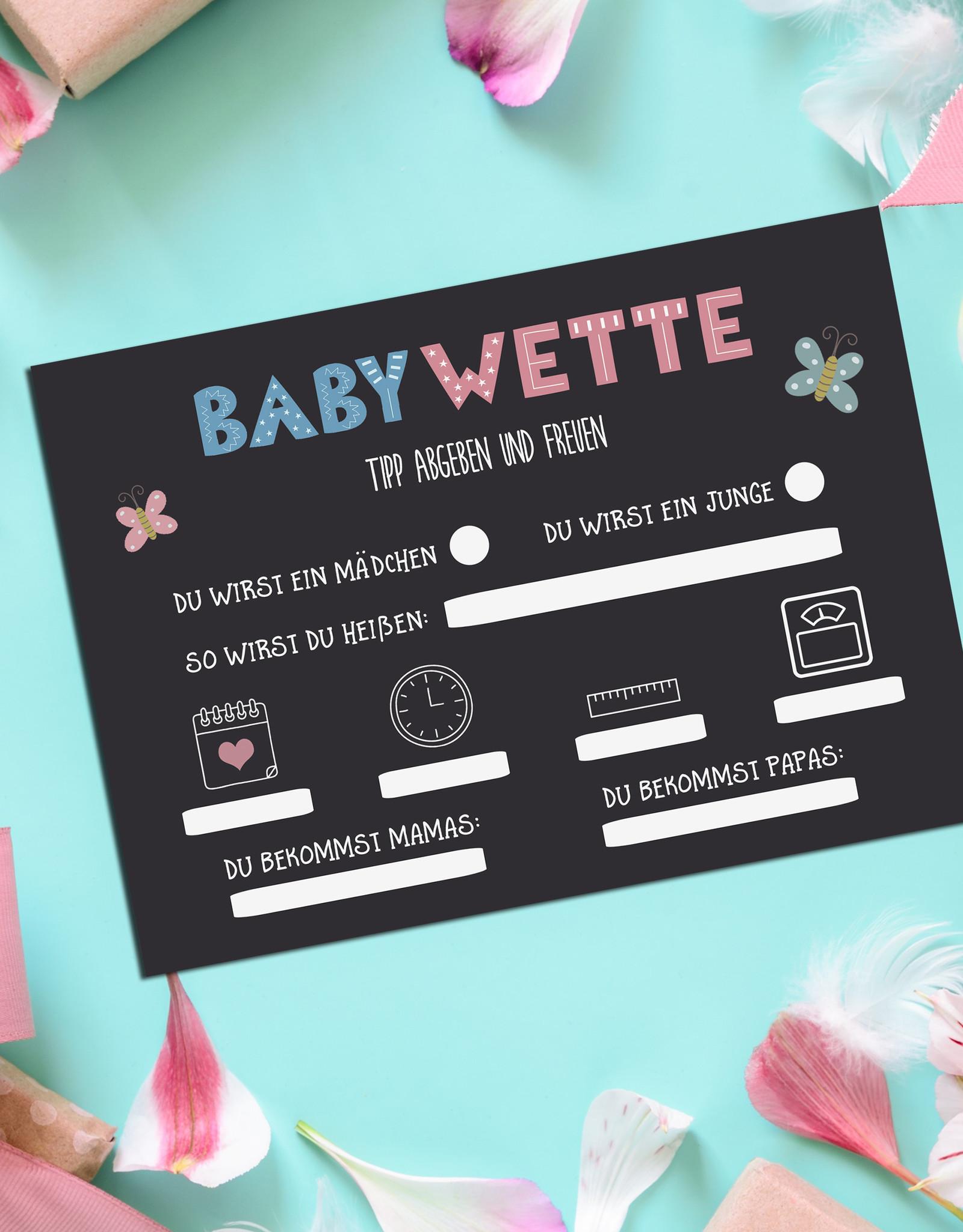 25 x Baby Tippkarten Geschlecht Baby Ratekarten Babyparty Spiele Baby Wette