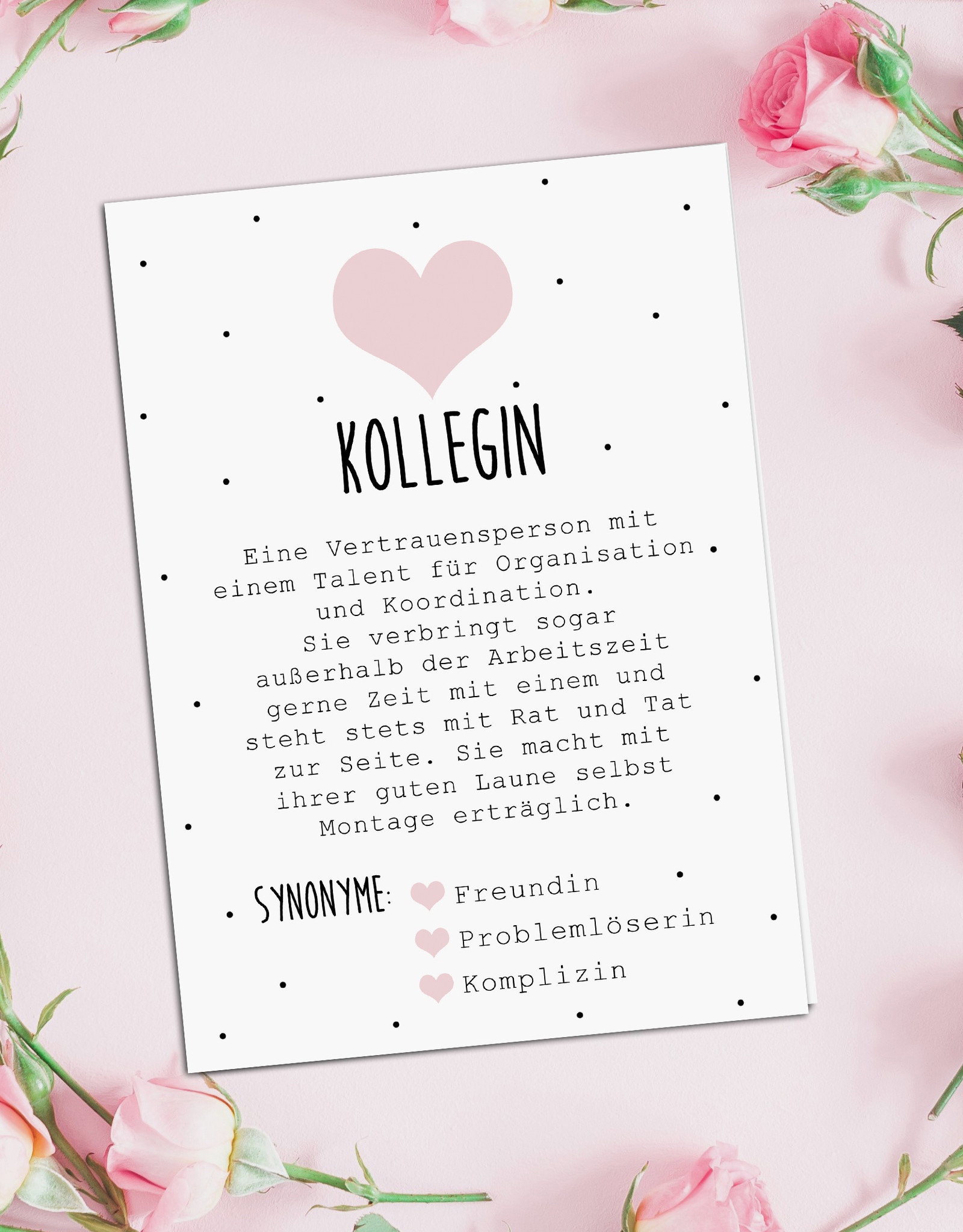 Postkarte KOLLEGIN inkl. Briefumschlag Kollegin Geschenk Defintion Kollegin