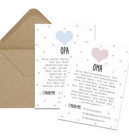 Postkarten OMA + OPA Definition inkl. Briefumschlag