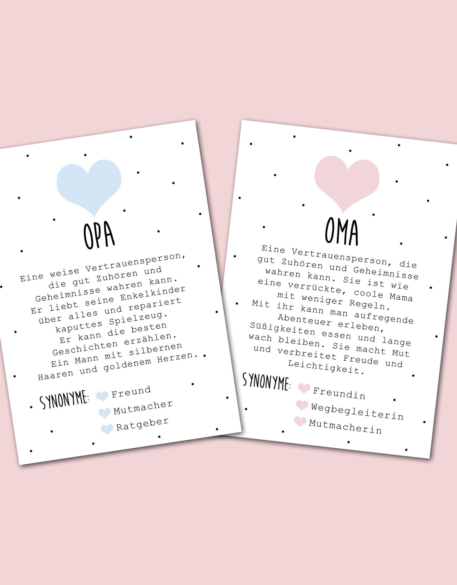 Postkarten OMA + OPA Definition inkl. Briefumschlag Du wirst Oma Du wirst Opa