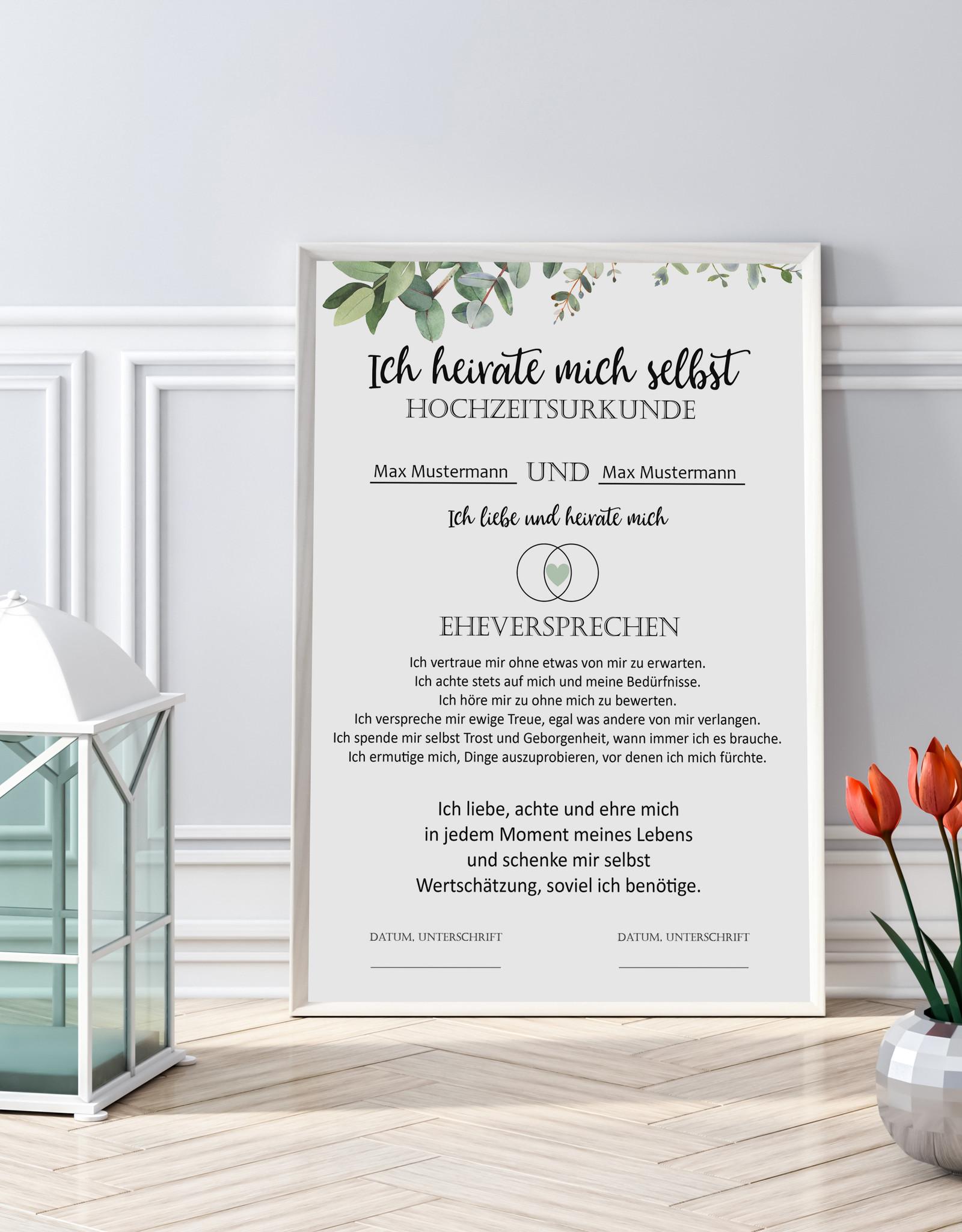 Heirate Dich selbst Hochzeitsurkunde Selbstliebe Poster DIN A4 Selbstwert Selbstliebe Geschenk
