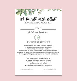Heirate Dich selbst Urkunde