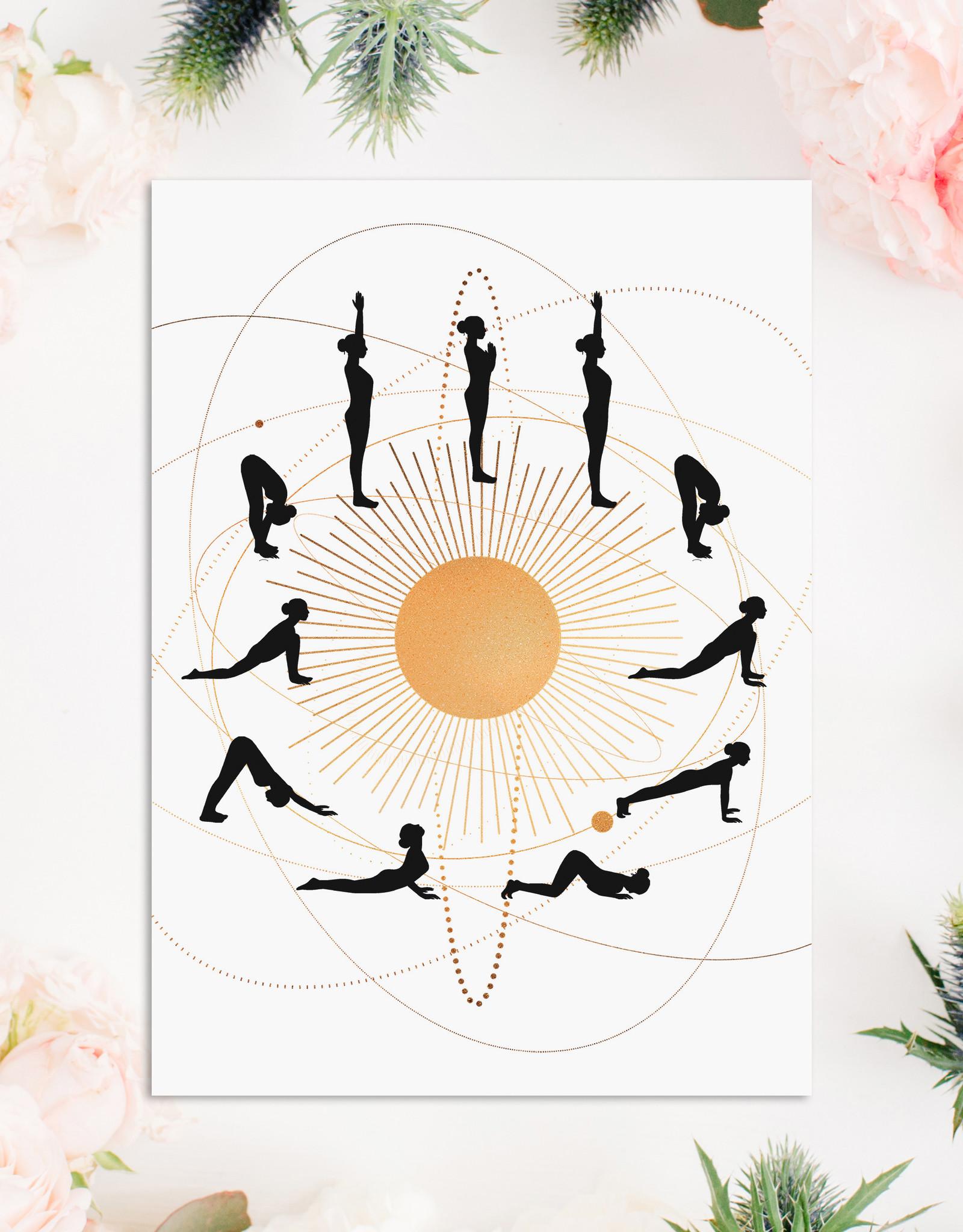 Postkarte YOGA Sonnengruß Karte Yoga Postkarte Yoga Geschenk