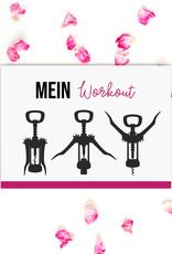 Postkarte MEIN WORKOUT Wein Postkarte Motivationskarte lustig Sprüche Postkarte Wein Geschenk