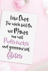 Postkarte OMA Puderzucker Postkarte Geburtstag Oma