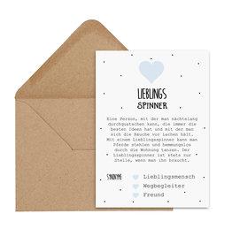 Postkarte LIEBLINGSSPINNER inkl. Briefumschlag