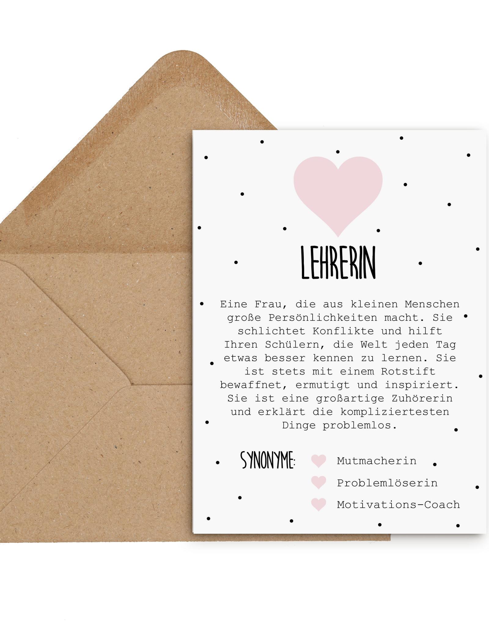 Postkarte Definition LEHRERIN Definition inkl. Briefumschlag Lehrerin Geschenk