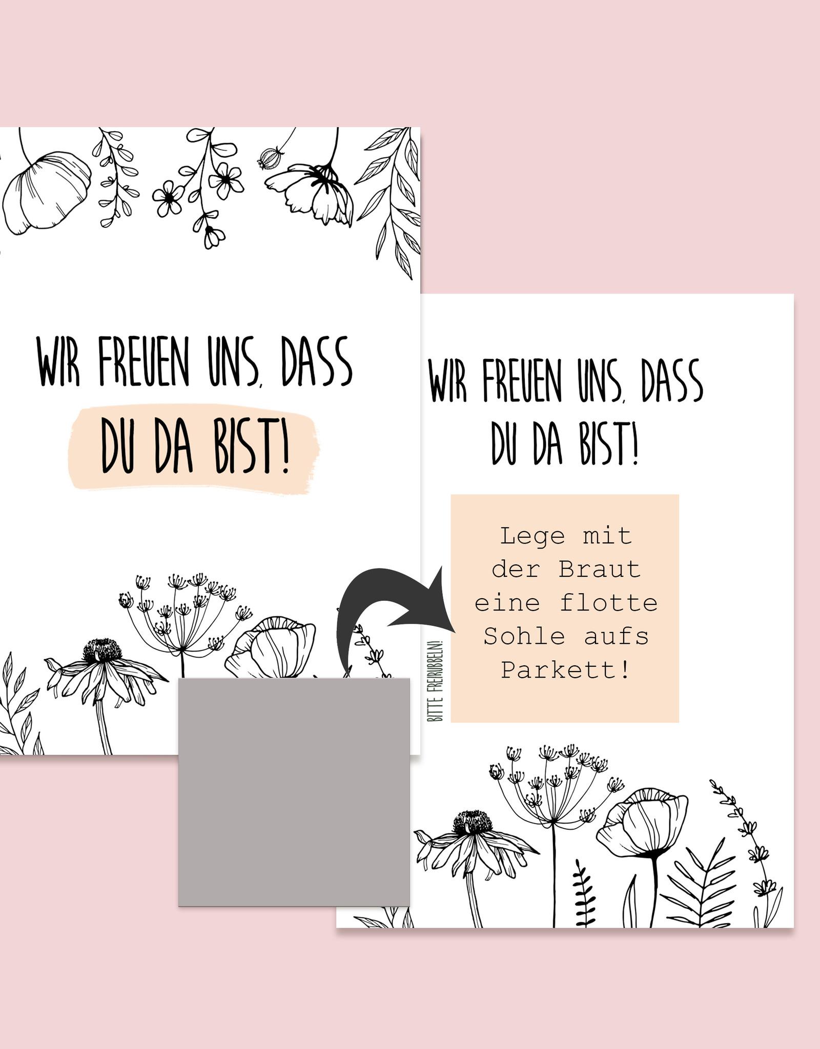 50 Rubbelkarten Hochzeit FLOWERS Rubbellose Hochzeitsspiel Spiele für Hochzeitsgäste