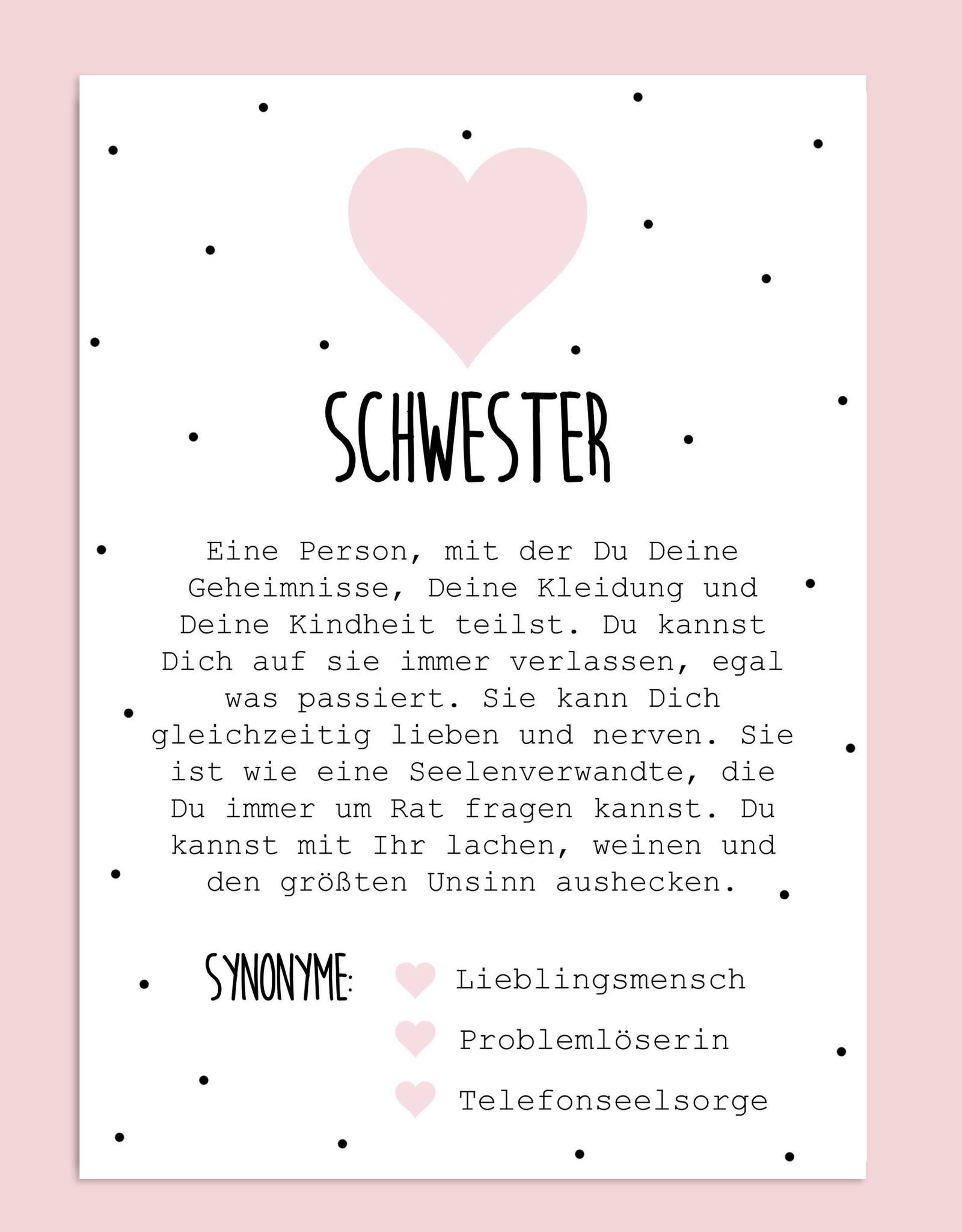 Postkarte Definition SCHWESTER Definition inkl. Briefumschlag Schwester Geschenk