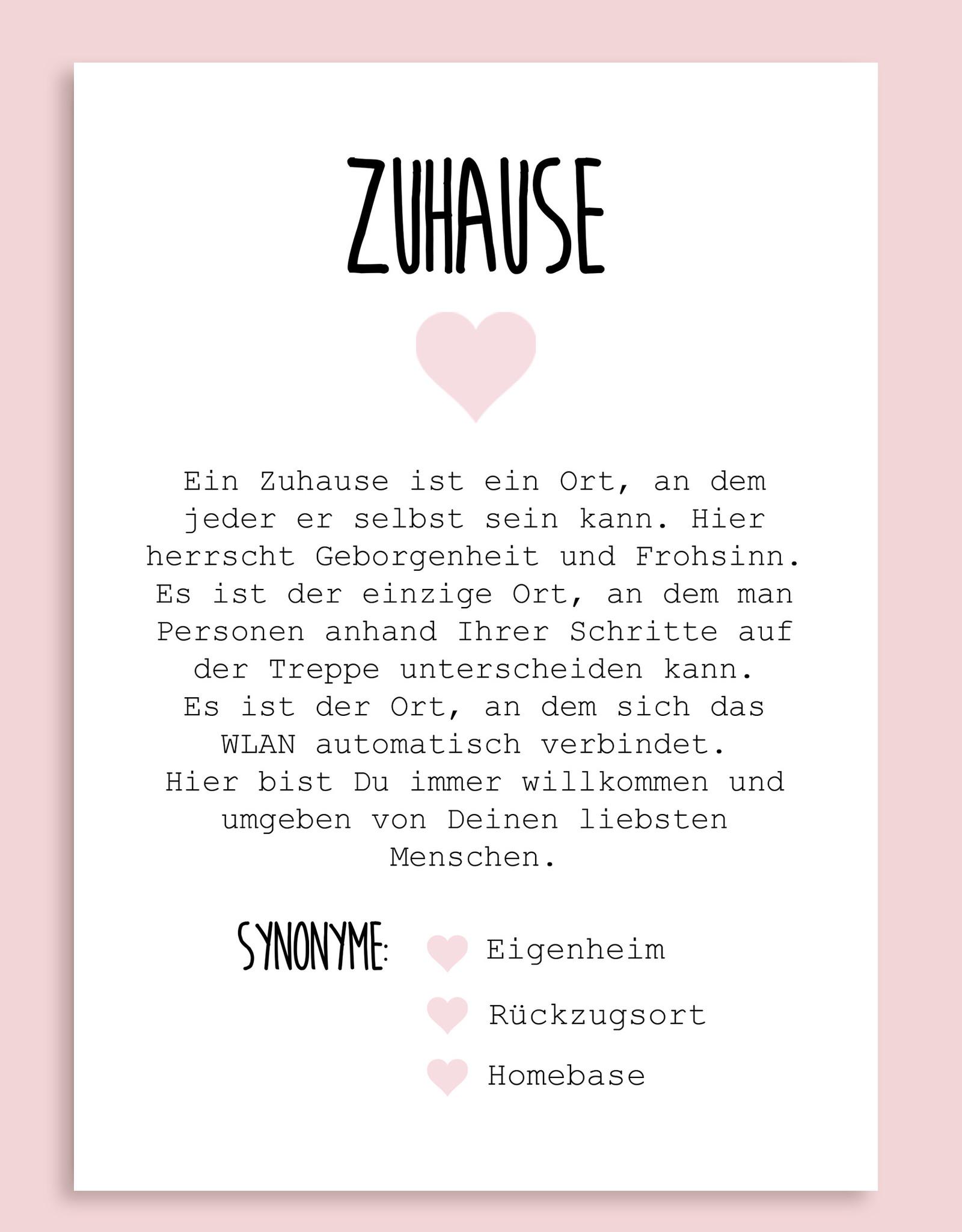 Postkarte ZUHAUSE Definition inkl. Briefumschlag Einzug Geschenk Umzug Hausbau