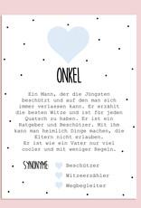 Postkarte ONKEL inkl. Briefumschlag Onkel Geschenk Du wirst Onkel Karte