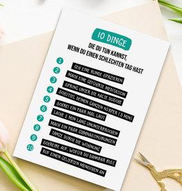 """Postkarte 10 Dinge """"Schlechter Tag"""""""