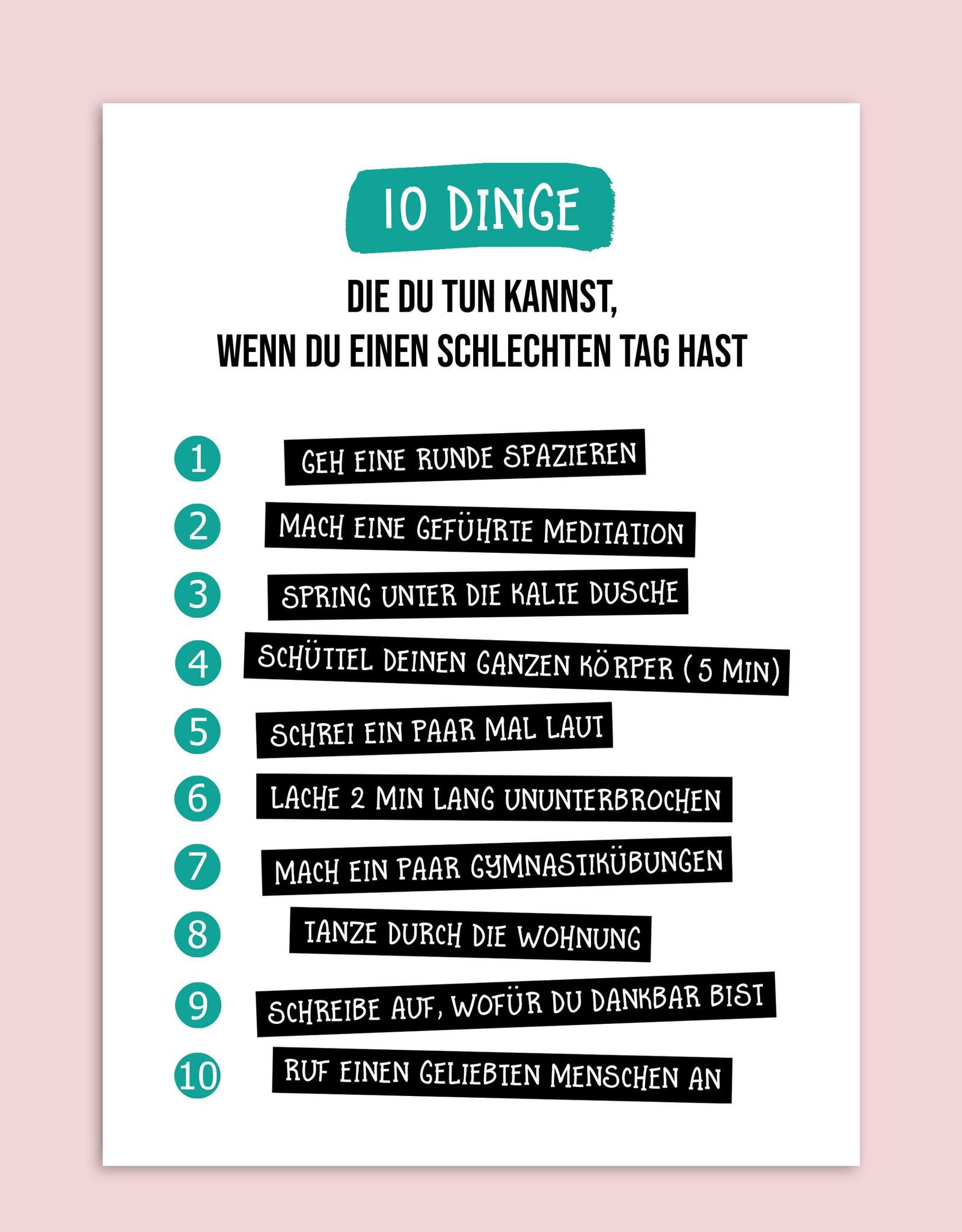"Postkarte 10 Dinge, die Du tun kannst ""schlechter Tag"" Postkarte Freundschaft Motivation"