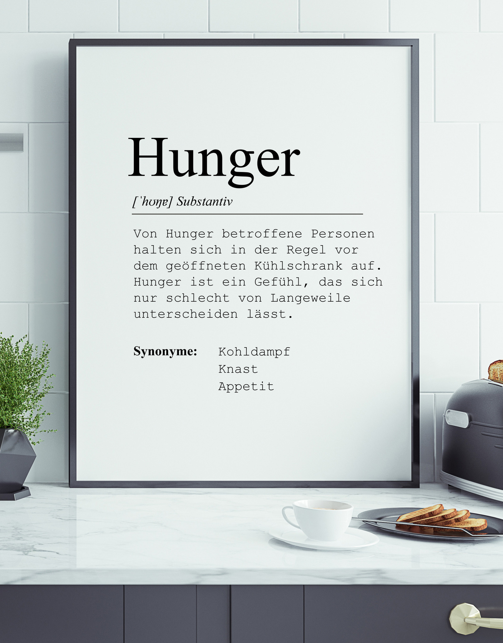 Küchenposter Hunger DIN A3 Küche Poster Definition Hunger Poster